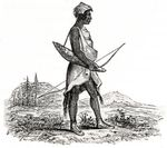 Among the Indigenous people in Western Oregon were the Kalapuyans, a group of tribes that spoke the Kalapuyan language. Above, an 1841 woodcut of a Kalapuya man, by Alfred Agate.