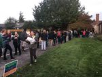 People in line, waiting to check in and vote in the Montavilla Neighborhood Association board election.