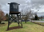 A miniature water tower welcomes visitors to Mill City, Oregon. This photo was taken Jan. 24, 2020.