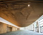The newly renovated ceiling at the Oregon Convention Center doubles as a topographical map of the Cascade mountain range.