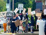 About 85 people attended a march and protest at Northeast Sandy Boulevard and 72nd Avenue in Portland on Sunday, June 7. It was one of a number of family friendly demonstrations aligned with the Black Lives Matter movement in Portland over the weekend.