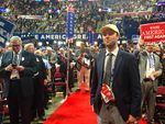 Jacob Daniels, Oregon campaign director for Donald Trump, stands among the state delegation on the floor of the Republican National Convention.
