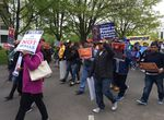 May Day marchers near the Capitol in Salem, Oregon, May 1, 2017.