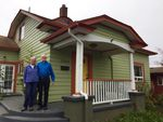 Judy Welles and Duane Fickeisin with their very energy efficient home in Southeast Portland.