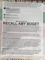 A flier circulated in the town of Yacolt in July 2020. The flier warns of outside groups coming to the town, after councilor Amy Boget proposed the town denounce systemic racism.