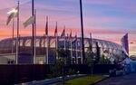 International flags surround Hayward Field.