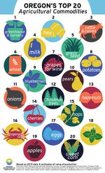a colorful chart with lineart depicting each of the 20 top crops in oregon