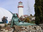 Mermaid sculptures adorn the grounds of the mermaid museum and adjacent Westport Winery.