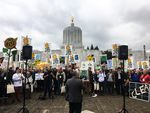 Hundreds of people protest in favor of cap-and-trade legislation at the Oregon Capitol in Salem, Oregon, Wednesday, Feb. 6, 2019. The bill aims to limit carbon emissions.