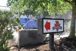 A tent encampment abuts the Burgerville in Portland's Lents neighborhood on August 4, 2021. The company said safety concerns prompted it to temporarily close the restaurant.