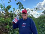 Rolf Haugen, a raspberry grower in Lynden, Washington, decided to get into the spirit of the viral TikTok video and take a picture with a jug of juice in his berry fields.