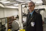 Curry Health Network interim CEO Wayne Hellerstedt stands in the basement of Curry General Hospital. Outdated and in violation of state fire codes, the hospital is in dire need of an update. County voters approved a $10 million bond for a new hospital, but the only site being discussed is in an area of known tsunami hazards.