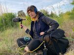 Lisa Schonberg makes a field recording at Ainsworth bluffs in Portland, Ore.