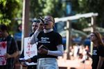 PSU student Olivia Pace speaks at a rally calling for the disarmament of Portland State campus police.