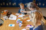 """During prefrontal cortex time in Jill Anglin's classroom, a few kids and a volunteer splatter paint on purpose after reading a book called """"Beautiful Oops."""" """"We tend to understand that mistakes are a part of the learning process,"""" says Kendra Coates, a teacher who helps educators better teach social-emotional skills."""