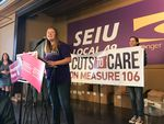 """Grayson Dempsey at a Portland rally for canvassers fighting Measure 106. Dempsey heads the Oregon chapter of NARAL pro-choice America and is a leader of """"No Cuts To Care,"""" the opposition campaign."""