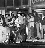 """Portland Police arrest two men during what Northeast Portland protests in 1967. The event came to be known as the """"Albina riot."""""""
