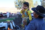 A young tribal member wore a handmade outfit to Kah-Nee-Ta's last weekend salmon bake.