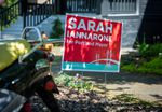 A yard sign for Portland mayoral candidate Sarah Iannarone sits in front of a house in the Southeast Portland, Ore., neighborhood of Brooklyn on Monday, April 20, 2020.