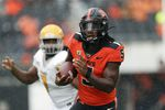Oregon State running back Deshaun Fenwick (5) carries the ball against Idaho during the second half of an NCAA college football game, Saturday, Sept. 18, 2021, in Corvallis, Ore. Oregon State won 42-0.