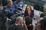 Gov. Kate Brown speaks to reporters following the Reopening Oregon Celebration at Providence Park in Portland, Ore., June 30, 2021 where she announced the end to mandatory mask use and social distancing.