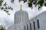 Oregon State Capitol building, May 18, 2021. The capitol was completed in 1938 and is topped with a gilded bronze statue of the Oregon Pioneer.