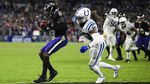 Baltimore Ravens wide receiver Marquise Brown, left, catches the winning pass in front of Indianapolis Colts defensive back George Odum.