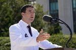 Dr. Sean Conley, physician to President Donald Trump, briefs reporters at Walter Reed National Military Medical Center in Bethesda, Md., Saturday, Oct. 3, 2020. Trump was admitted to the hospital after contracting the coronavirus.