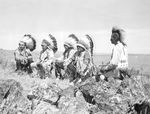 Warm Springs first tribal council in 1928. From left to right: George Meachum, Isaac McKinley, Charley McKinley, Nathan Heath and Jackson Culps.