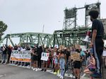 Protestors stand on the north end of the Interstate 5 bridge on June 19, 2020. Southwest Washington has a very recent history with police violence, which civil rights organizations continue to question.