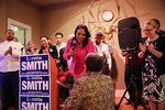 Loretta Smith greets supporters on Election Night, Tuesday, Nov. 6, 2018 in Portland, Oregon.