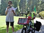 """Steve Cheseborough organized a 'Pickle Palooza' bike ride to celebrate two of his favorite activities, bicycling and pickling, """"Rather than accept a corporation's pickle, make your own. Rather than accept a corporate way of getting around by buying oil and cars and insurance, just get a bicycle."""""""