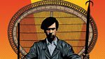 The illustrated cover of The Black Panther Party: A Graphic Novel History, by David F. Walker and Marcus Kwame Anderson. Depicts famous photo of Huey Newton seated in a woven chair, wearing a beret. Also depicts party leaders Bobby Seale, Kathleen Cleaver and Fred Hampton, all against an orange and yellow background.