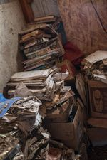 Documents gather dust in decaying boxes in Carol Van Strum's shed in the Siuslaw National Forest. For decades, Van Strum has been amassing documents about the chemical industry through lawsuits and Freedom of Information Act requests.