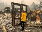 Oregon Gov. Kate Brown tours an area damaged by the Beachie Creek Fire, Sept. 16 2020.