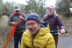 Geoff Babb hikes with help from his friends Jack Arnold and Amy Kazmier.