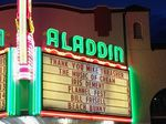 A remembrance to Mike Thrasher on the marquee of Portland's Aladdin Theater.
