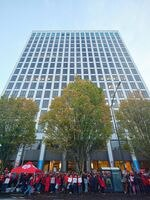 Nurses, physician assistants, physical therapists and mental health counselors rally outside Kaiser Permanente in Portland, Ore., on Sept. 28, 2021.