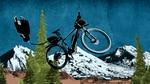 An e-bike soaring over a mountain.