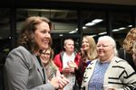 Carolyn Long greets supporters on Election Night in Vancouver, Washington, Tuesday, Nov. 6, 2018.