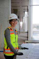OHSU Biologist Tiffani Howard tells builders what scientists want in the new building. She's standing in what she calls 'the collabrador,' a main corridor where scientists will gather to collaborate.