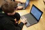 Earl Boyles third-grader Austin works on test prep during class in late April.