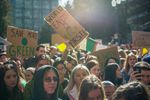 Over a thousand students from Portland schools walked out of class on Friday, March 15, 2019, to demand action on climate change.