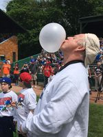 Big League Chew founder Rob Nelson blows a giant bubble in this undated photo.