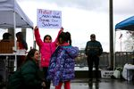 Allies and members of Yakama Nation hold a rally at the Vancouver Landing Amphitheater along the Columbia River.