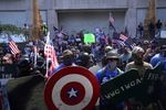 Dueling demonstrations gather in downtown Portland on Saturday, Aug. 22, 2020. Groups like Proud Boys and Patriot Prayer showed up to oppose monthslong demonstrations against systemic racism and police brutality.