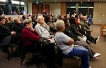 Dozens of people gather at City Hall in Vancouver, Wash., on Monday, March 25, 2019, to address city leadership on police shootings. Vancouver police shot four people, three fatally, in the span of five weeks in February and March.