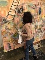 Renée Zangara painting in her studio near St. Johns.