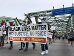 Protestors head north on the Interstate 5 bridge on June 19, 2020. Southwest Washington has a very recent history with police violence, which civil rights organizations continue to question.