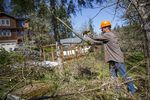 Joshua Wright of Oregon's Wildfire Workforce Corps clears undergrowth in a Eugene community to help reduce the risk of wildfire in the neighborhood, March 30, 2021.